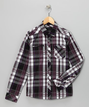 Purple Plaid The Thrill Woven Button-Up