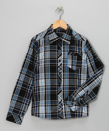 Blue Plaid Elevation Woven Button-Up - Boys
