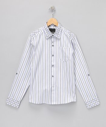 White Stripe Abbey Road Button-Up - Boys