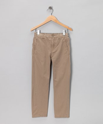 Dark Khaki Straight-Leg Pants