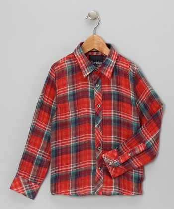 Red Plaid Troy Woven Button-Up