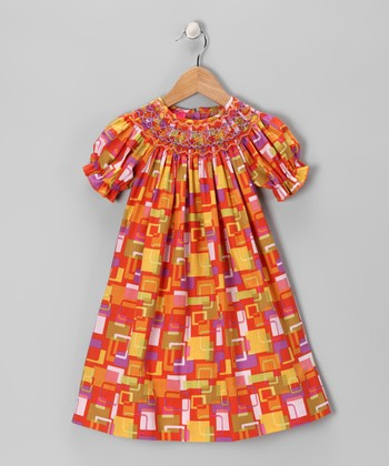 Red Geometric Bishop Dress - Girls