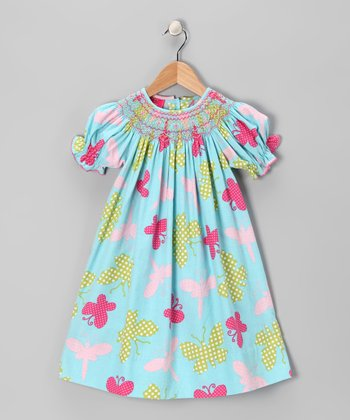 Blue Butterfly Corduroy Bishop Dress - Infant, Toddler & Girls