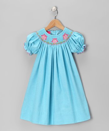 Blue Owl Bishop Dress - Girls