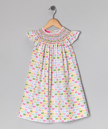 Pink Butterfly Angel-Sleeve Dress - Infant