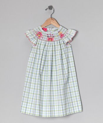 Blue Plaid Princess Angel-Sleeve Dress - Infant