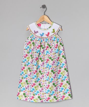 Pink & Blue Bird Dress - Infant & Girls