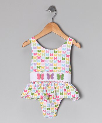 Pink & Green Butterfly Sunsuit - Infant