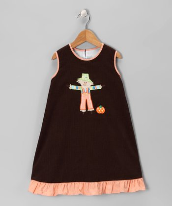 Brown Scarecrow Corduroy Swing Dress - Toddler & Girls