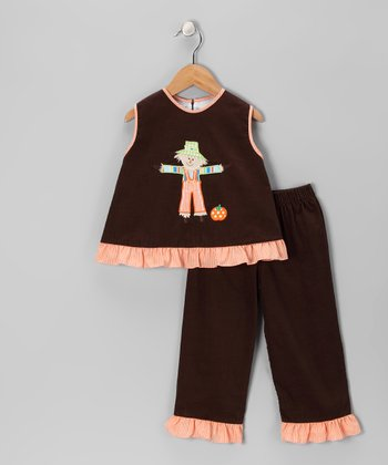 Brown Scarecrow Corduroy Top & Pants - Girls
