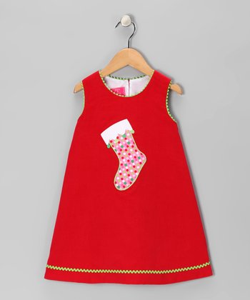 Red Stocking Corduroy Swing Dress - Infant & Girls