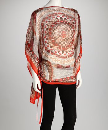 Red Sheer Medallion Cape-Sleeve Tunic