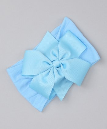Baby Blue Bow Stretch Headband