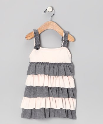 Gray Ruffle Beth Dress - Infant, Toddler & Girls