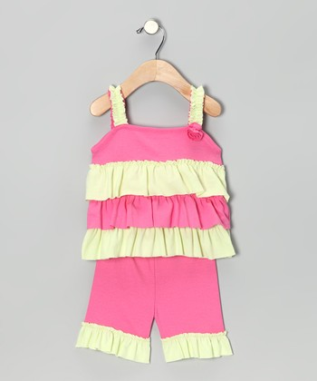 Pink Ruffle Helen Tunic & Capri Pants - Infant, Toddler & Girls