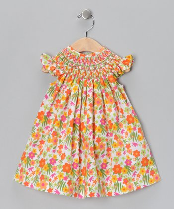 Orange Floral Vanessa Angel-Sleeve Dress - Infant & Toddler