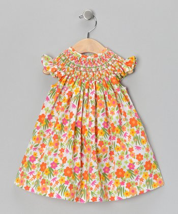 Orange Floral Vanessa Smocked Bishop Dress - Infant & Toddler