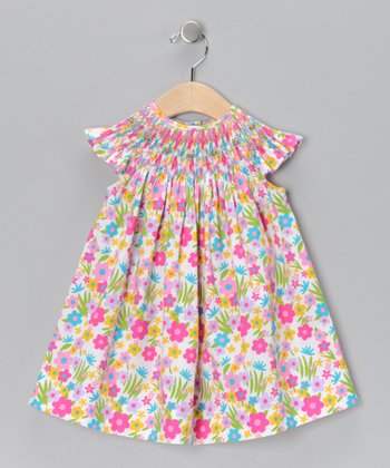 Pink Floral Danielle Angel-Sleeve Dress - Infant