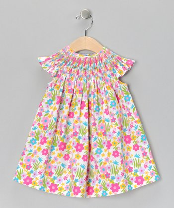 Pink Floral Danielle Smocked Bishop Dress - Infant