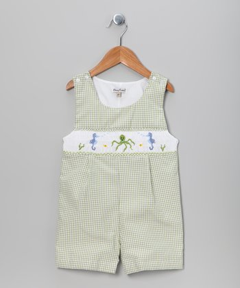 Green Gingham Seahorse John Johns - Infant & Toddler