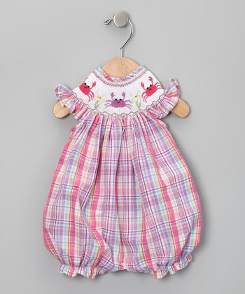 Pink Plaid Crab Romper - Infant