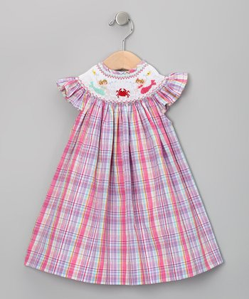 Pink Plaid Mermaid Bishop Dress - Infant