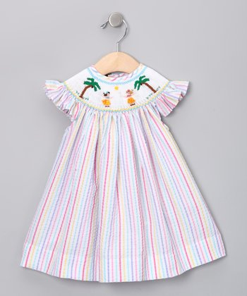 Pink Stripe Hawaii Angel-Sleeve Dress - Infant & Toddler