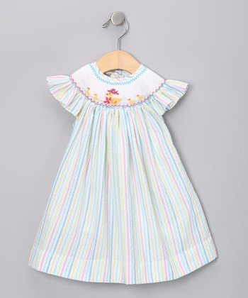 Pink & Blue Stripe Duck Angel-Sleeve Dress - Infant