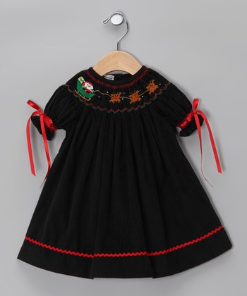 Black Santa Sleigh Bishop Dress - Infant & Toddler