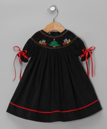 Black Christmas Tree Bishop Dress - Infant & Toddler