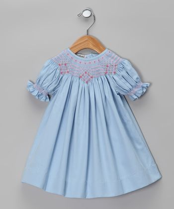 Blue Carla Hand-Smocked Bishop Dress - Infant & Toddler