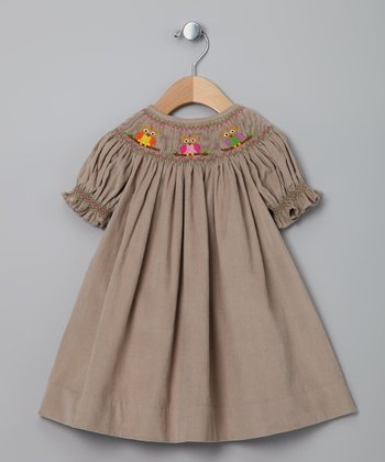Light Brown Owl Corduroy Bishop Dress - Toddler
