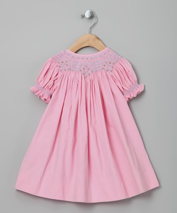 Classy Couture Pink Corduroy Bishop Dress - Infant