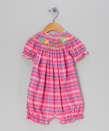 Pink & Purple Plaid Fish Romper - Infant