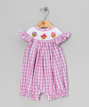 Pink Plaid Cupcake Romper - Infant