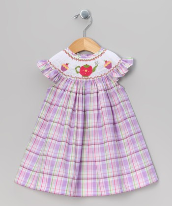 Purple Plaid Tea Party Angel-Sleeve Dress - Infant