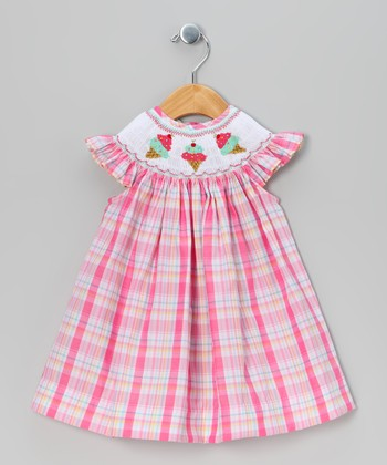 Pink Plaid Ice Cream Angel-Sleeve Dress - Infant & Toddler
