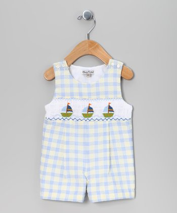 Yellow & Blue Plaid Sailboat John Johns - Infant