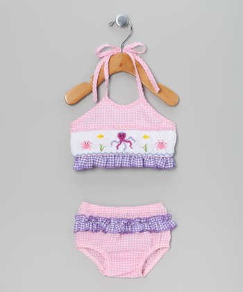 Pink & Purple Gingham Crab Bikini - Infant & Girls