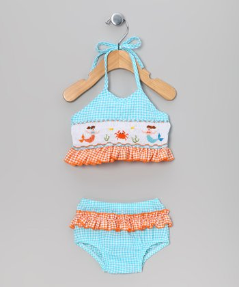 Blue & Orange Gingham Crab Bikini - Infant