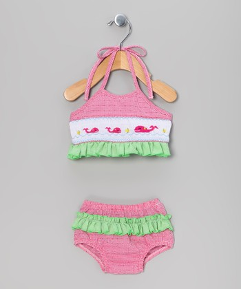 Pink & Green Gingham Whale Bikini - Infant & Girls