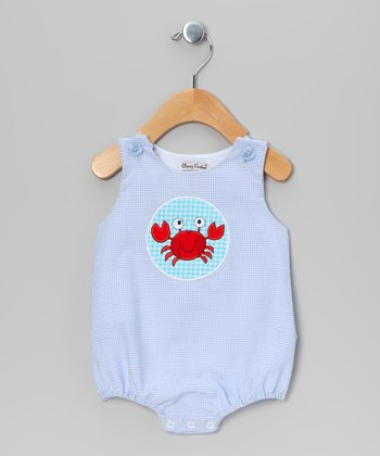 Blue & White Seersucker Crab Bubble Bodysuit - Infant
