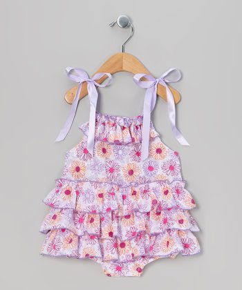 Purple & Pink Flower Skirted Bodysuit - Infant & Toddler