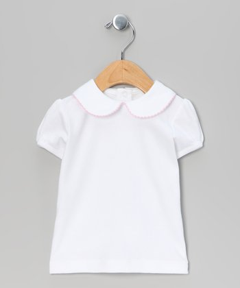 White & Pink Cap-Sleeve Top - Infant & Toddler