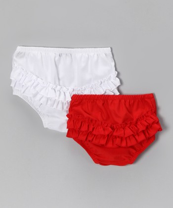 White & Red Diaper Cover Set - Infant