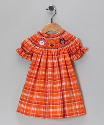 Orange Trick-or-Treat Plaid Bishop Dress - Infant & Toddler