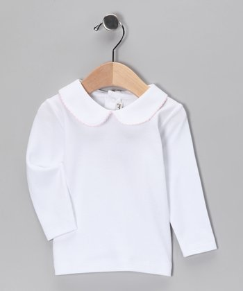 White & Pink Pima Collared Top - Infant, Toddler & Girls