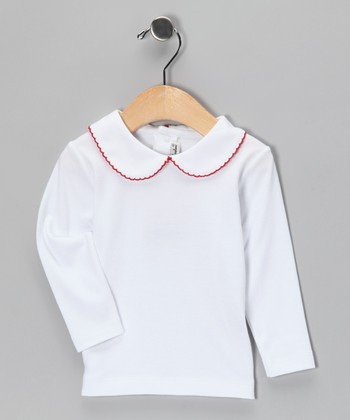 White & Red Pima Collared Top - Infant, Toddler & Girls