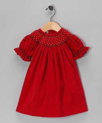Red Corduroy Bishop Dress - Infant