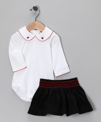 White Pima Bodysuit & Black Skirt - Infant